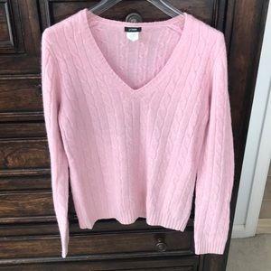 Jcrew pink wool blend vneck sweater